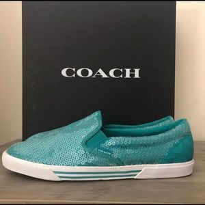 Coach sequin teal sneakers, woman's size 7